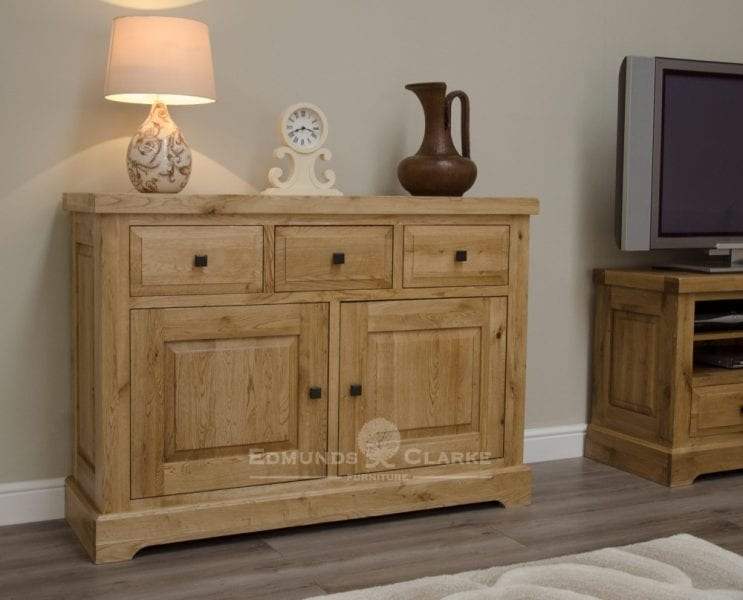 Deluxe Rustic Solid Oak medium sideboard with three drawers two doors oak shelves inside cupboards DLXLMSB