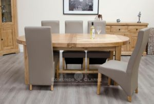 Melford solid oak super oval extending dining table. extending from 210cm to 250 to 290, 100% deluxe solid oak, seats 6 to 10 , tow leaves measuring 40cm each