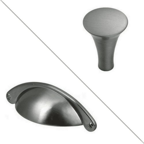 Satin Nickel trumpet knob and satin nickel cup handle combination choice