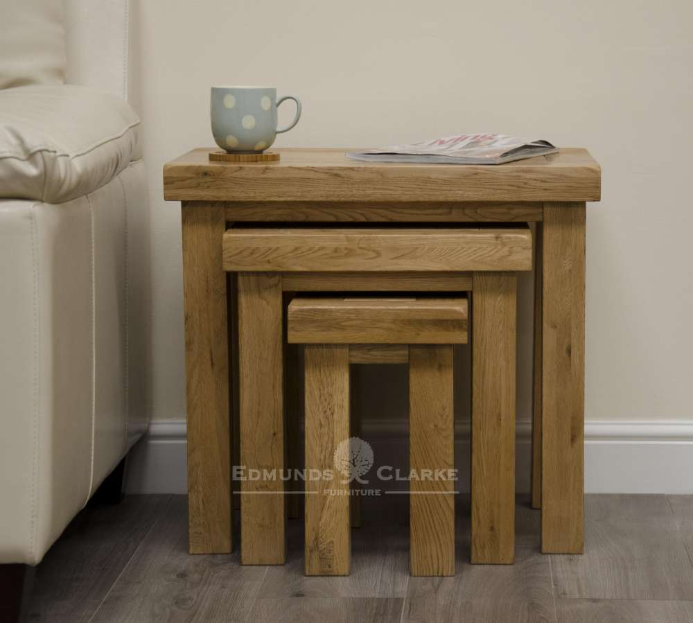 Melford Solid Oak Nest of Tables. deluxe chunky rustic solid oak DLXNST