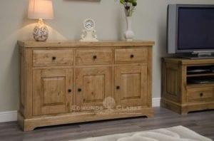 Melford solid oak large sideboard. Deluxe Rustic Solid Oak large sideboard with three drawers three doors oak shelves and solid oak wine rack inside cupboards DLXLSB