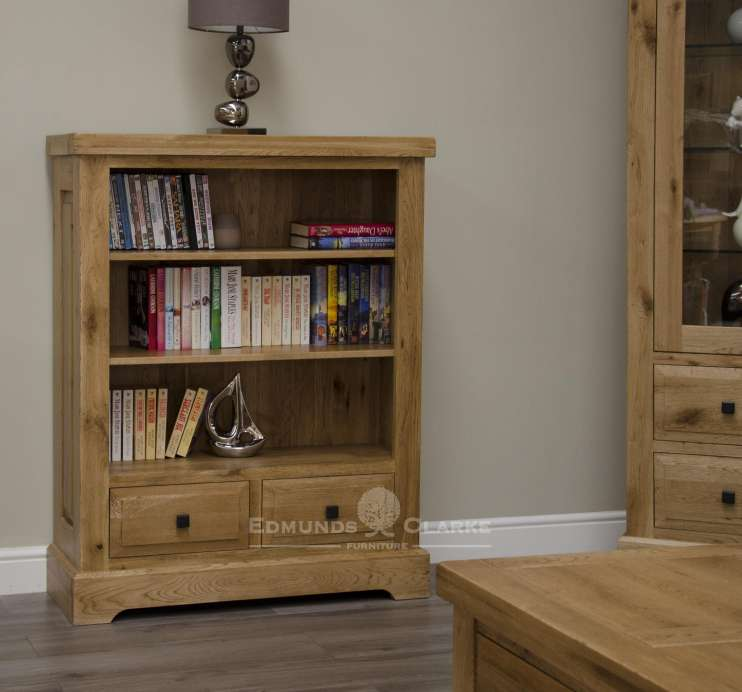 Melford solid oak small bookcase. Deluxe Rustic Solid Oak small bookcase with two drawers 2 adjustable shelves and various handle options available DLXSMBC