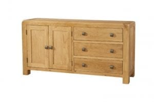 Waxed Oak with smooth edges. Small Two door sideboard with 3 long drawers to the side with square rustic knobs . DAV002