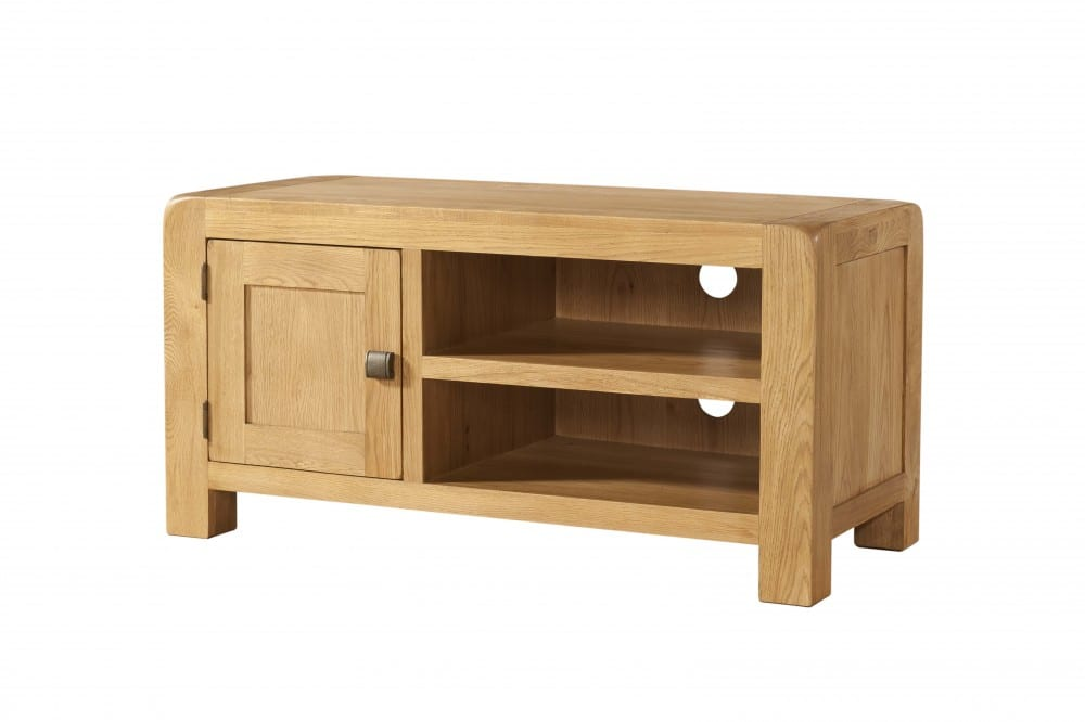Oak TV Unit With Open Space & Cupboard. Contemporary and Quirky Waxed Oak with smooth edges. with square rustic knobs DAV017
