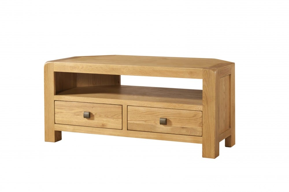 Avon Oak Corner TV unit with open space Contemporary and Quirky Waxed Oak with smooth edges. Corner TV Unit with square rustic knobs . DAV018