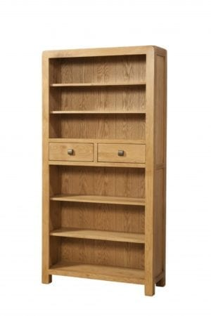 Contemporary and Quirky Waxed Oak with smooth edges. Bookcase with 2 drawers central to bookcase 4 adjustable shelves with square rustic knobs . DAV021