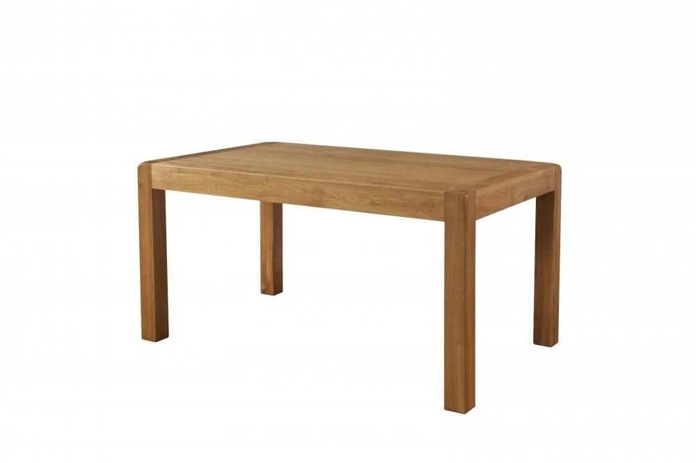 Oak 150cm non extending dining table. rounded edges medium waxed oak DAV23