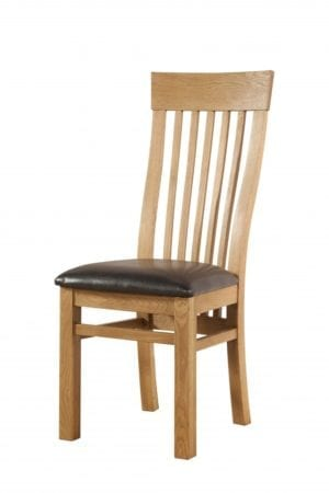 Oak Curved Tall Slatted Back Dining Chair. brown faux leather seat DAV025