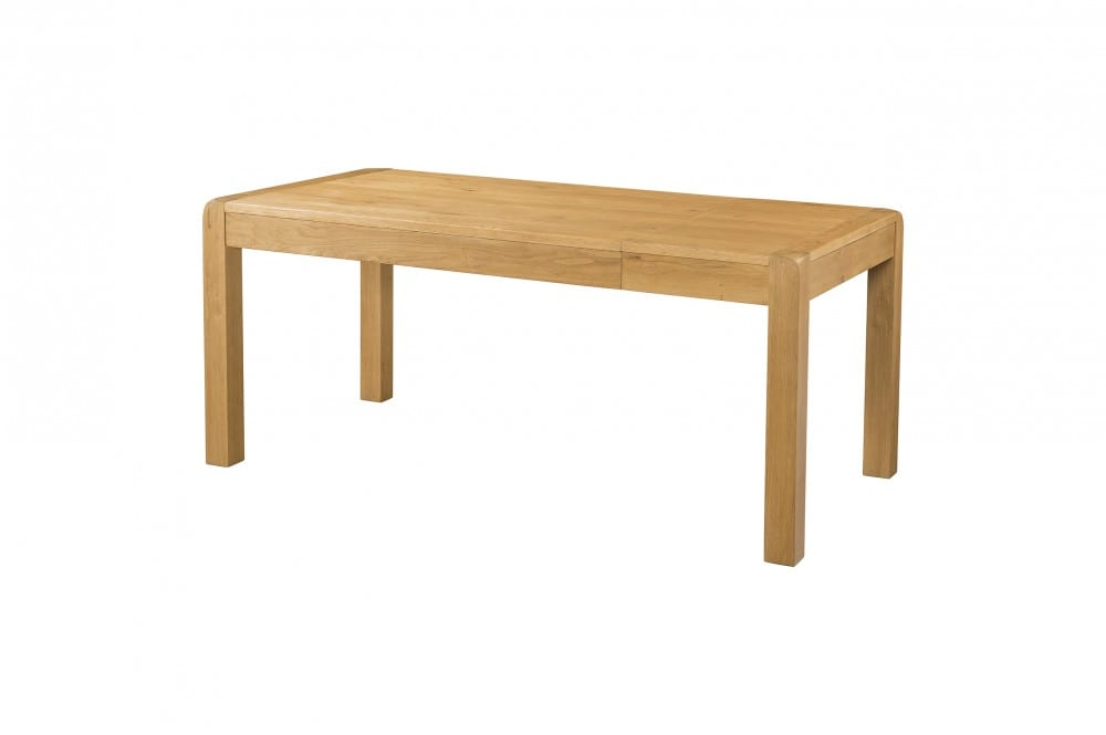 DAV026 Oak 140cm end extension dining table, medium waxed oak with rounded edges and chunky legs. extension leaf stores under table