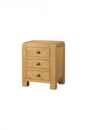 Contemporary and Quirky Waxed Oak with smooth edges. 3 drawer chest with square rustic knobs . DAV028
