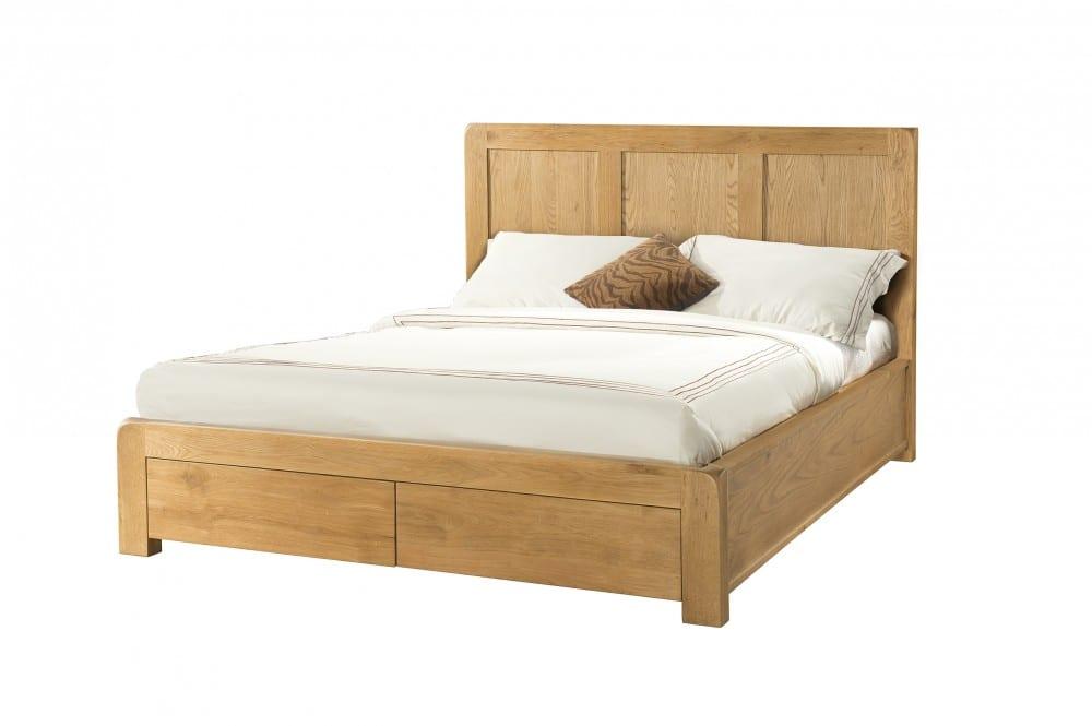 Avon Oak 5ft King size bed - end drawers. medium waxed oak DAV38
