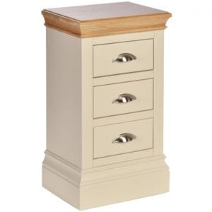 lundy painted compact 3 drawer bedside, solid chunky moulded oak top, painted deep chunky moulded plinth various colours and handle options available LB10