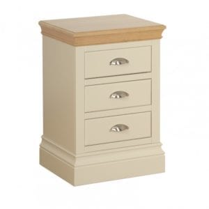 lundy painted 3 drawer bedside chest, solid chunky moulded oak top, painted deep chunky moulded plinth various colours and handle options available LB30