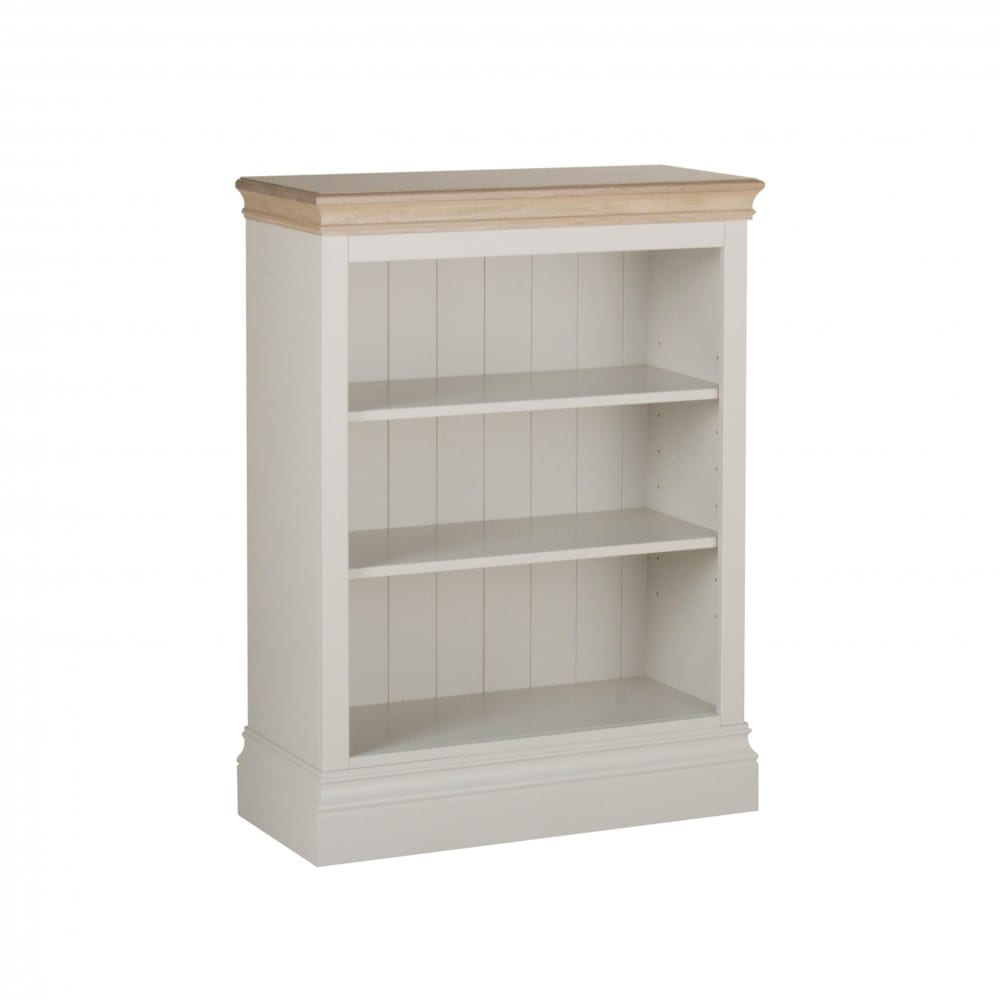lundy painted 3ft bookcase. solid chunky moulded oak top, painted deep chunky moulded plinth various colours available LK10