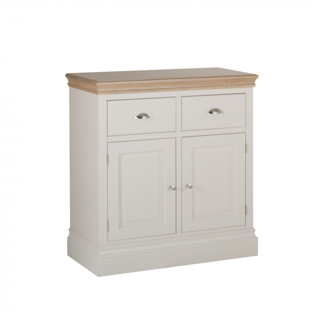Lundy Painted 2 Drawer sideboard. with chrome cup handles. solid chunky moulded oak top, painted deep chunky moulded plinth various colours and handle options available LS20