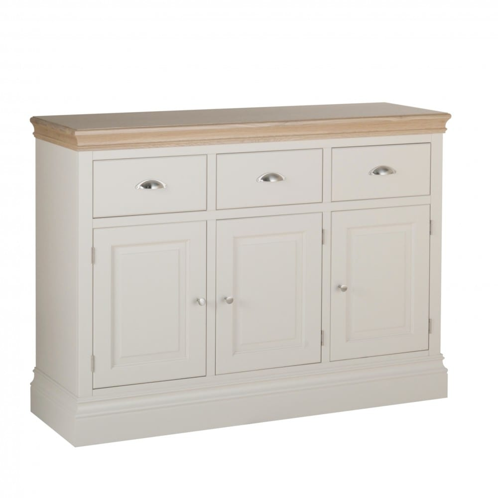 Lundy Painted 3 Drawer Sideboard, three drawer sideboard with chrome cup handles. solid chunky moulded oak top, painted deep chunky moulded plinth various colours and handle options available LS40