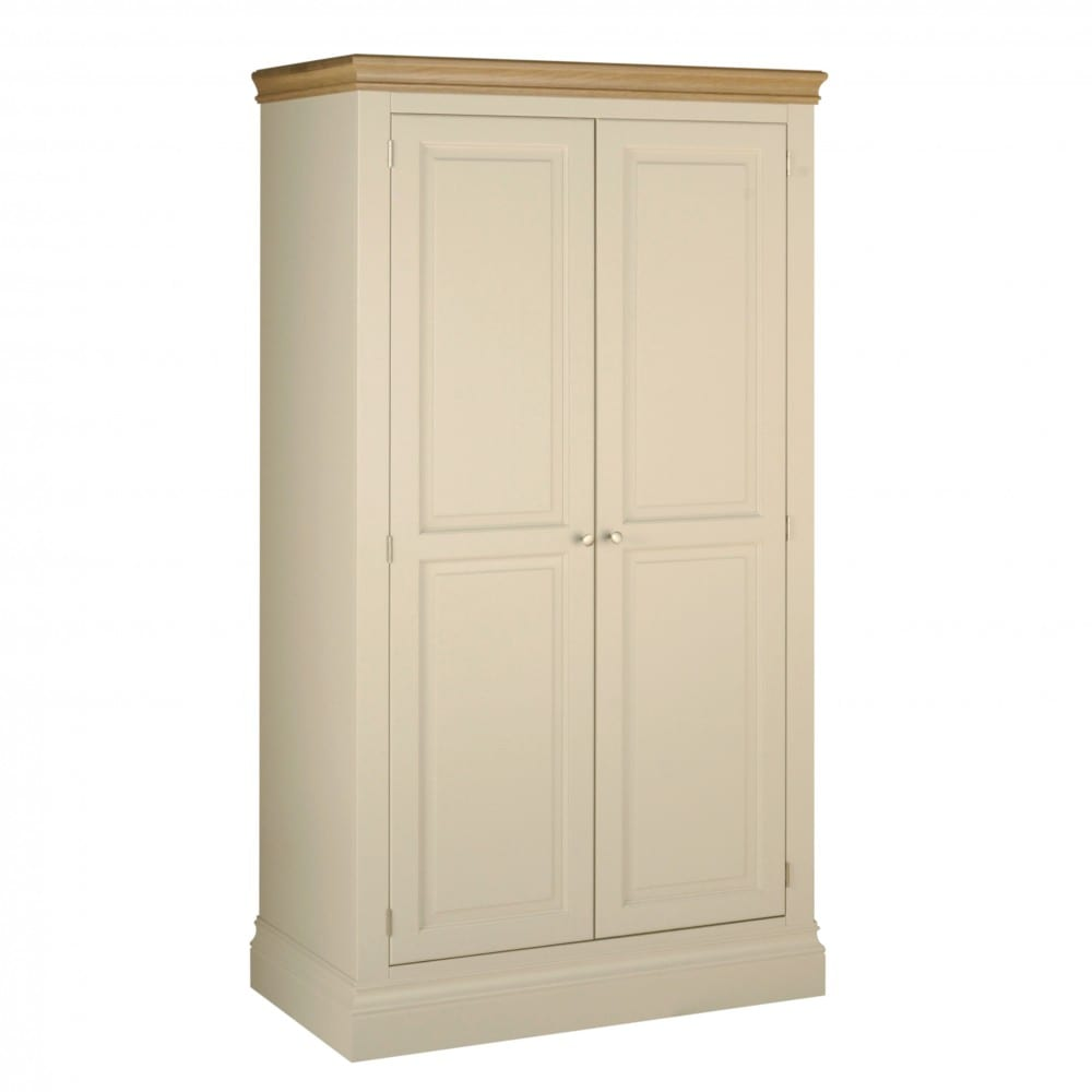 lundy painted double wardrobe. solid chunky moulded oak top, painted deep chunky moulded plinth various colours and handles available LW20