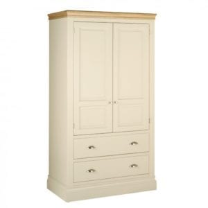 Lundy Painted 2 Drawer Double Wardrobe solid chunky moulded oak top, painted deep chunky moulded plinth various colours and handles available LW55