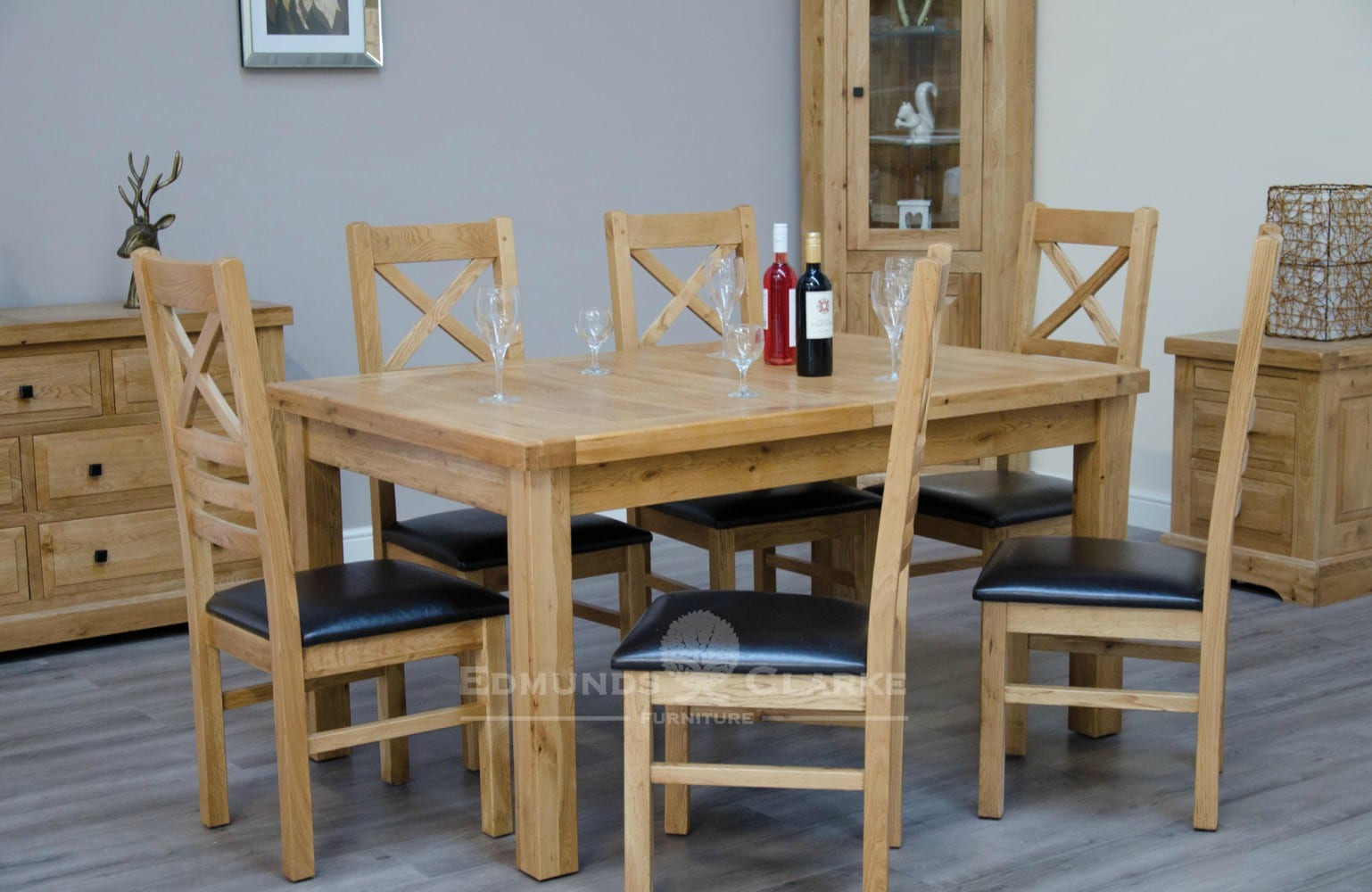Melford Solid Oak 150cm Extending Dining Table, chunky, two leaves that store underneath will sit 4 to 8 people comfortably DLX1500EXT
