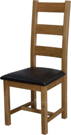 Melford Solid Oak Ladder Back Chair, brown leather pad, light oak lacquer finish DLXLADDERBK