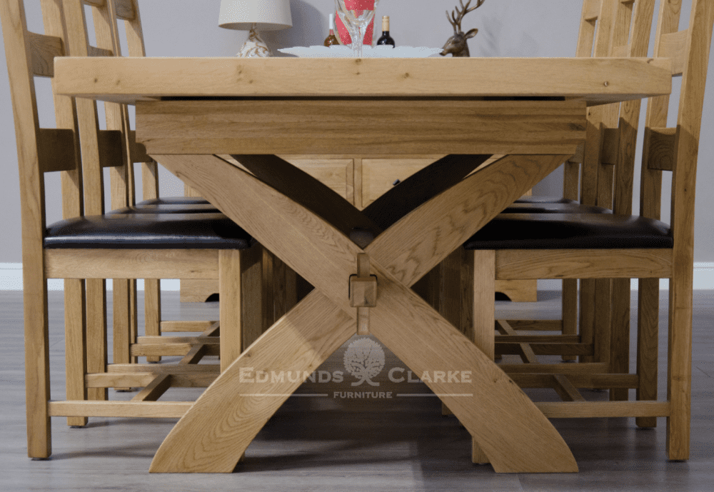 Melford Solid Oak X Leg Table image showing end of table leg detail
