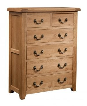 Somerset Oak 4+2 Chest. Chunky contemporary waxed oak. chunky top, tapered legs and dark antique brass drop down handles SOM004