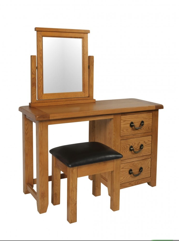 Somerset Oak Dressing table with stool and mirror that are sold separately. Chunky contemporary waxed oak. chunky top, three drawers with dark antique brass drop down handles SOM022, SOM023, SOM024