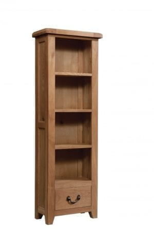 Somerset Oak Bookcase 60 x 180cm. 1 handy drawer, 3 shelves. Chunky contemporary waxed oak .chunky top, tapered legs and dark antique brass round rustic drop down handles. SOM061