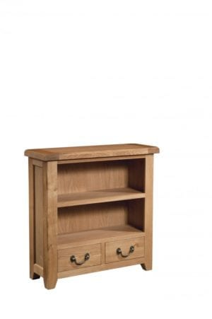 Somerset Oak Bookcase 90 x 90cm. 2 handy drawers, 1 shelf. Chunky contemporary waxed oak .chunky top, tapered legs and dark antique brass rustic drop down handles. SOM063