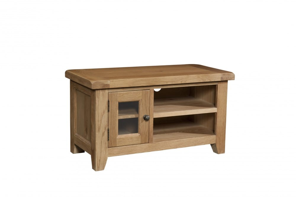 Somerset Oak Small TV Unit. Small glass door to left and open to the right with shelf in both sides. Chunky contemporary waxed oak .chunky top, tapered legs and dark antique brass round rustic drop down handles. SOM071