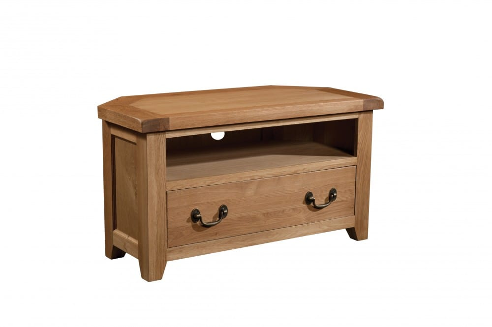 Somerset Oak Corner TV Unit. shelf under with 1 large drawer under. Chunky contemporary waxed oak .chunky top, tapered legs and dark antique brass round rustic drop down handles. SOM073