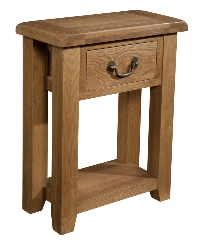 Somerset Oak 1 Drawer Small Console. Contemporary chunky oak with wax feel. 1 handy drawer with rustic antique brass drop down handle and shelf at bottom SOM079