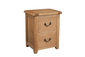 Somerset Oak 2 Drawer Filing Cabinet. Contemporary chunky oak with wax feel. two drawers that take foolscap files. Antique brass drop down handles. SOM081