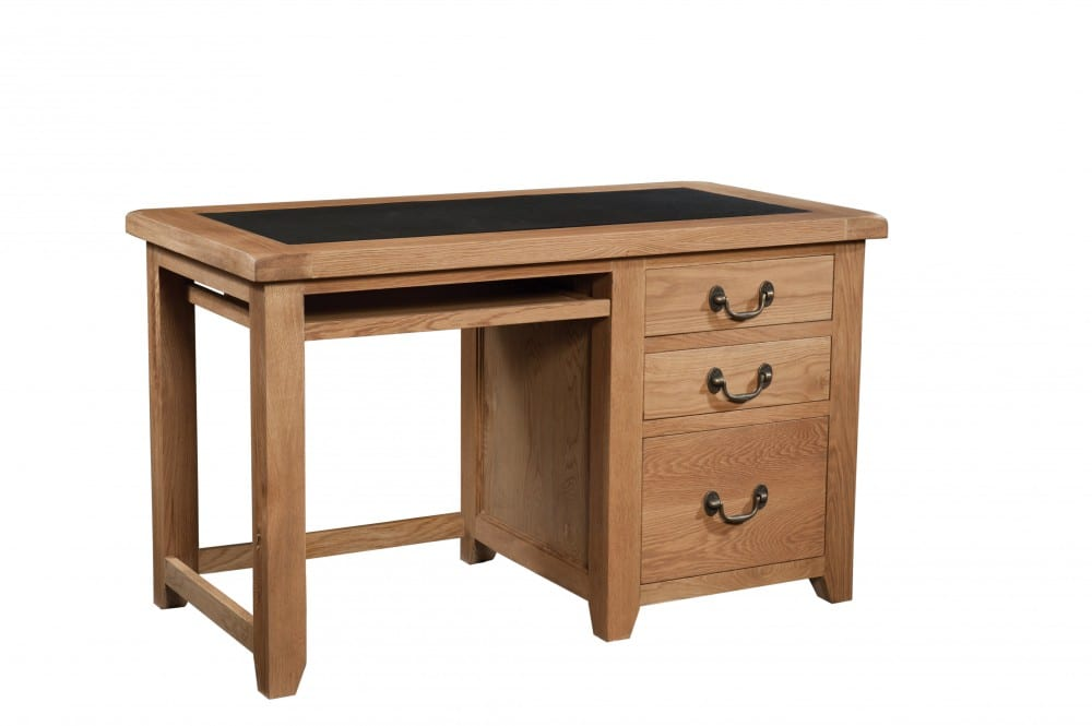Somerset Oak Office Desk. contemporary chunky oak with wax feel. faux leather top for comfort. 2 drawers and 1 filing cabinet with antique brass drop down handles SOM082