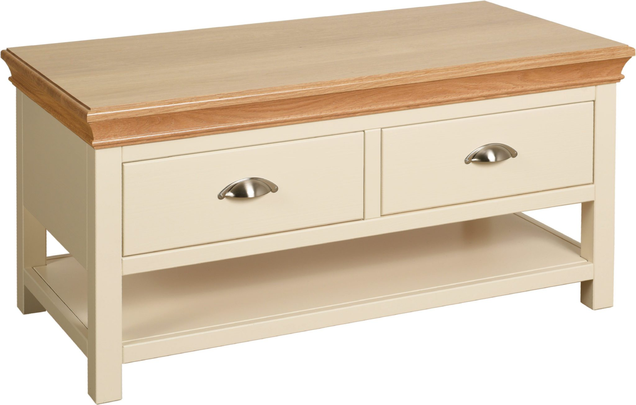 Lundy Painted Coffee Table With 2 Drawers, solid oak moulded top drawers come out from either side LT15