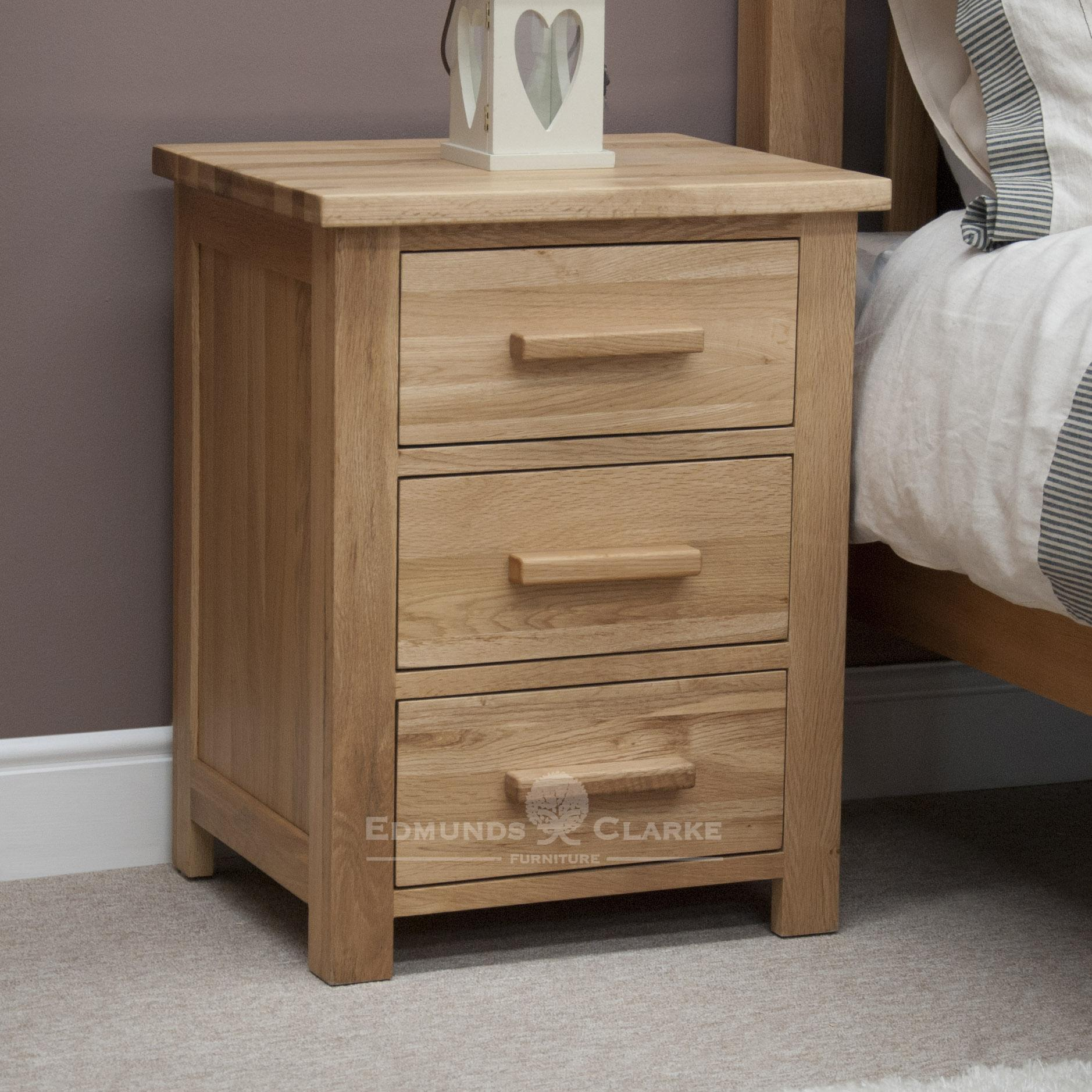Bury Solid Oak 3 Drawer Bedside Chest. Light lacquer oak with choice of bar handles