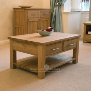 Bury solid oak 3ft coffee table with 2 drawers. shelf underneath for extra storage