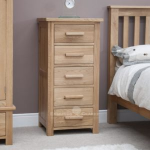 Bury Solid Oak 5 Drawer Tall Wellington Chest. light lacquer oak with choice of bar handles