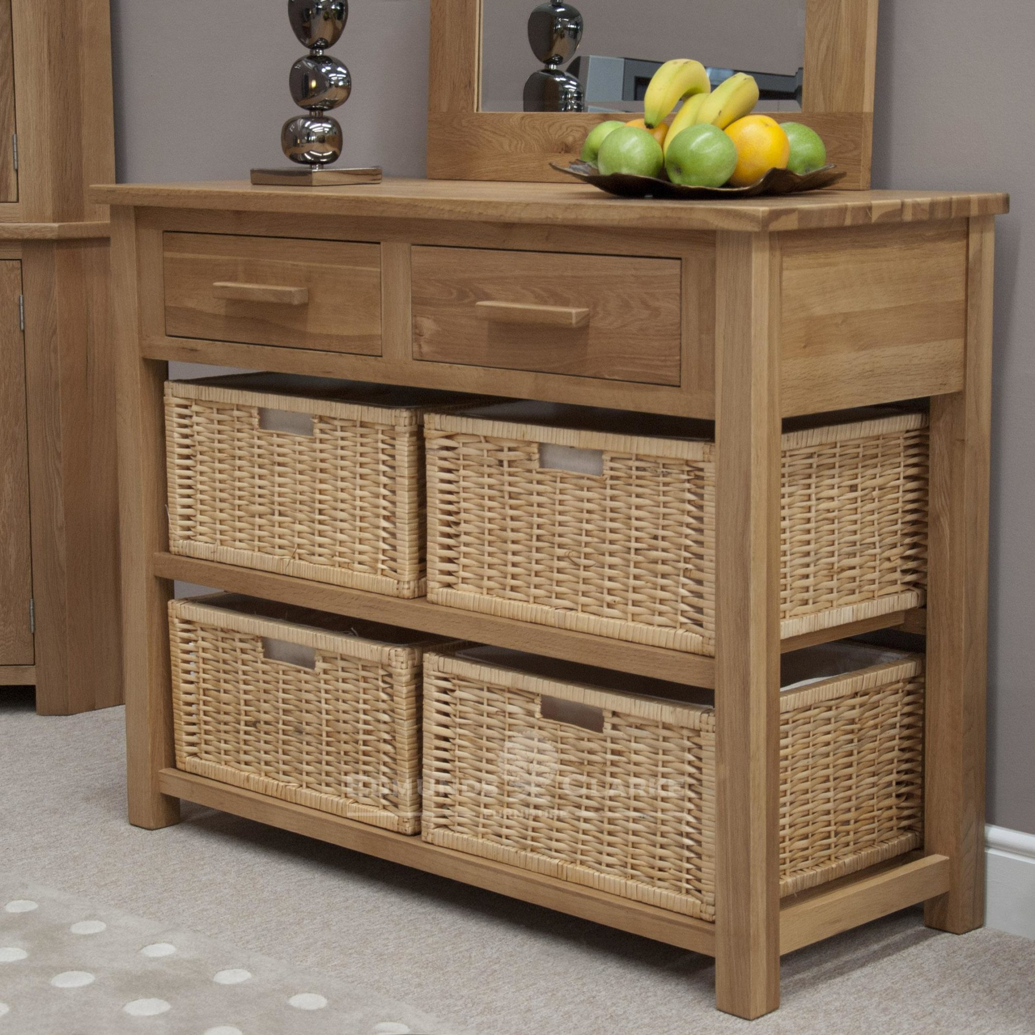 Bury solid oak Bury oak console table with baskets, 4 large baskets and 2 drawers, choiuce of handles either chrome as standard or oak bar handle as extra
