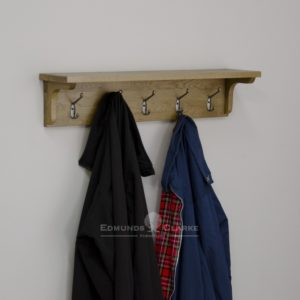 Bury solid oak Coat rack with shelf. with 5 chrome hooks and shelf above
