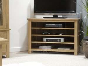 Bury solid oak corner TV unit - adjustable shelves for your media 100% solid oak
