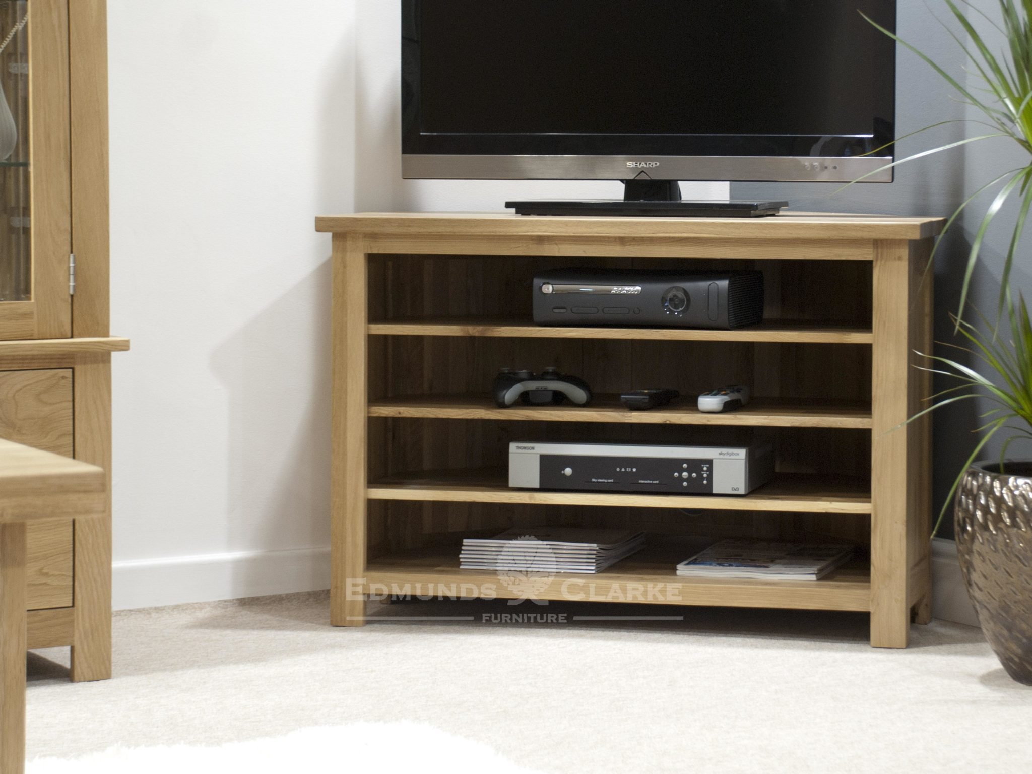 Bury solid oak corner TV unit - adjustable shelves for your media 100% solid oak