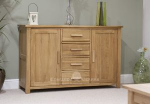 Bury Solid Oak Large Sideboard, 4 centre drawers and cupboard either side. chrome handles as standard, Oak bar handles available as extra