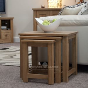 Bury Solid Oak triple Nest Of Tables. set of 3 tables