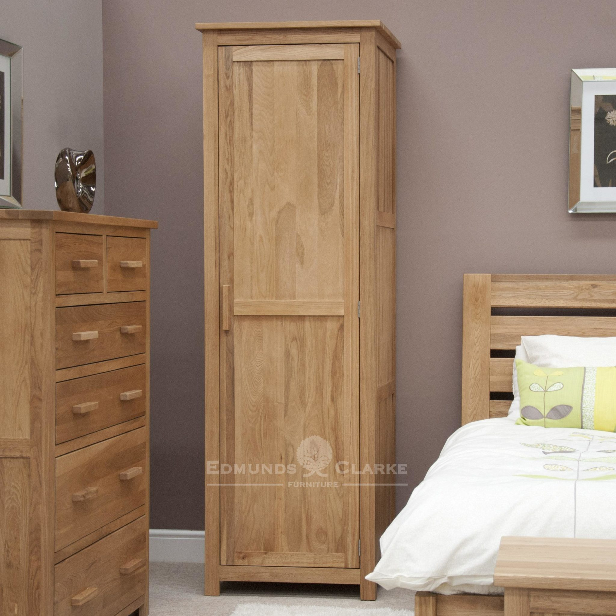 Bury Solid Oak Single Slim Wardrobe. full hanging, light lacquer finish and choice of wood or metal handle