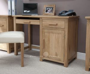 Bury solid oak home office small desk with cupboard, pull out keyboard drawer to the left and tower storage with drawer to the right, metal handles or wood handles available