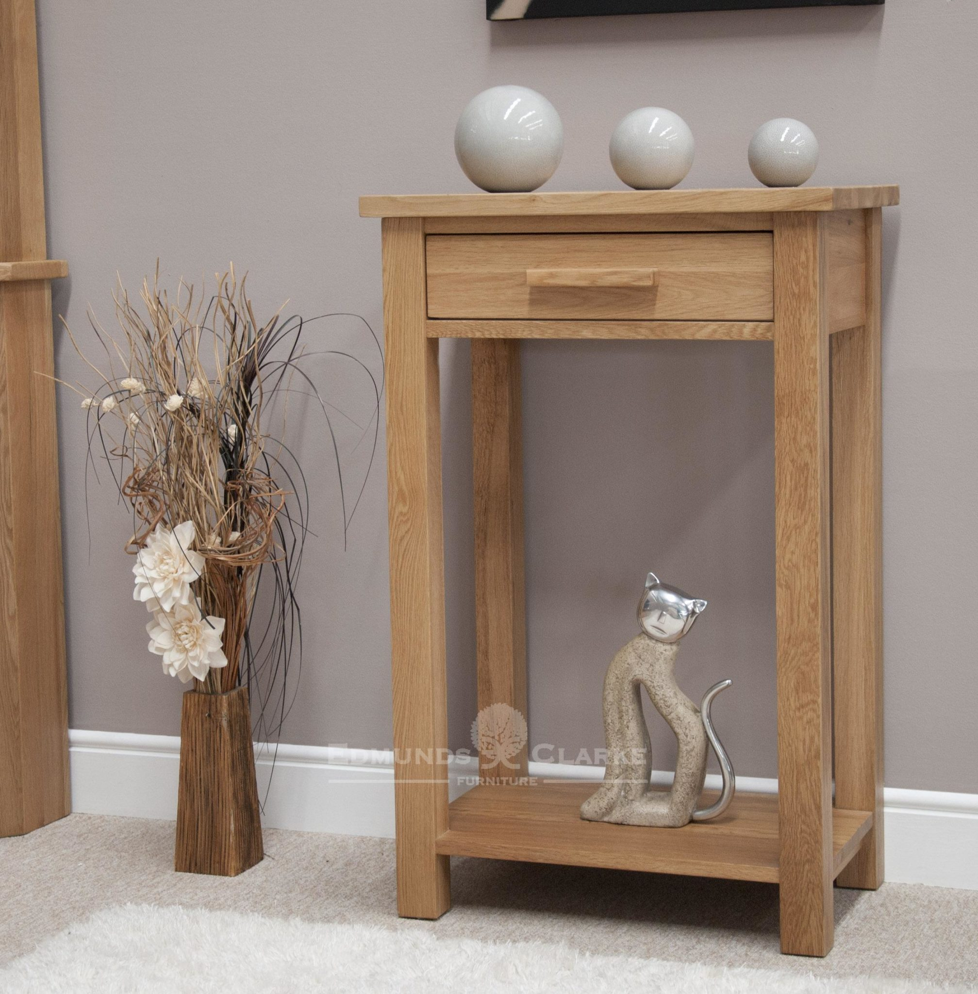 Bury Solid Oak Small Console Hall Table. one drawer with handy shelf at bottom of console table handy for baskets, chrome handles as standard. oak bar handles available as extra