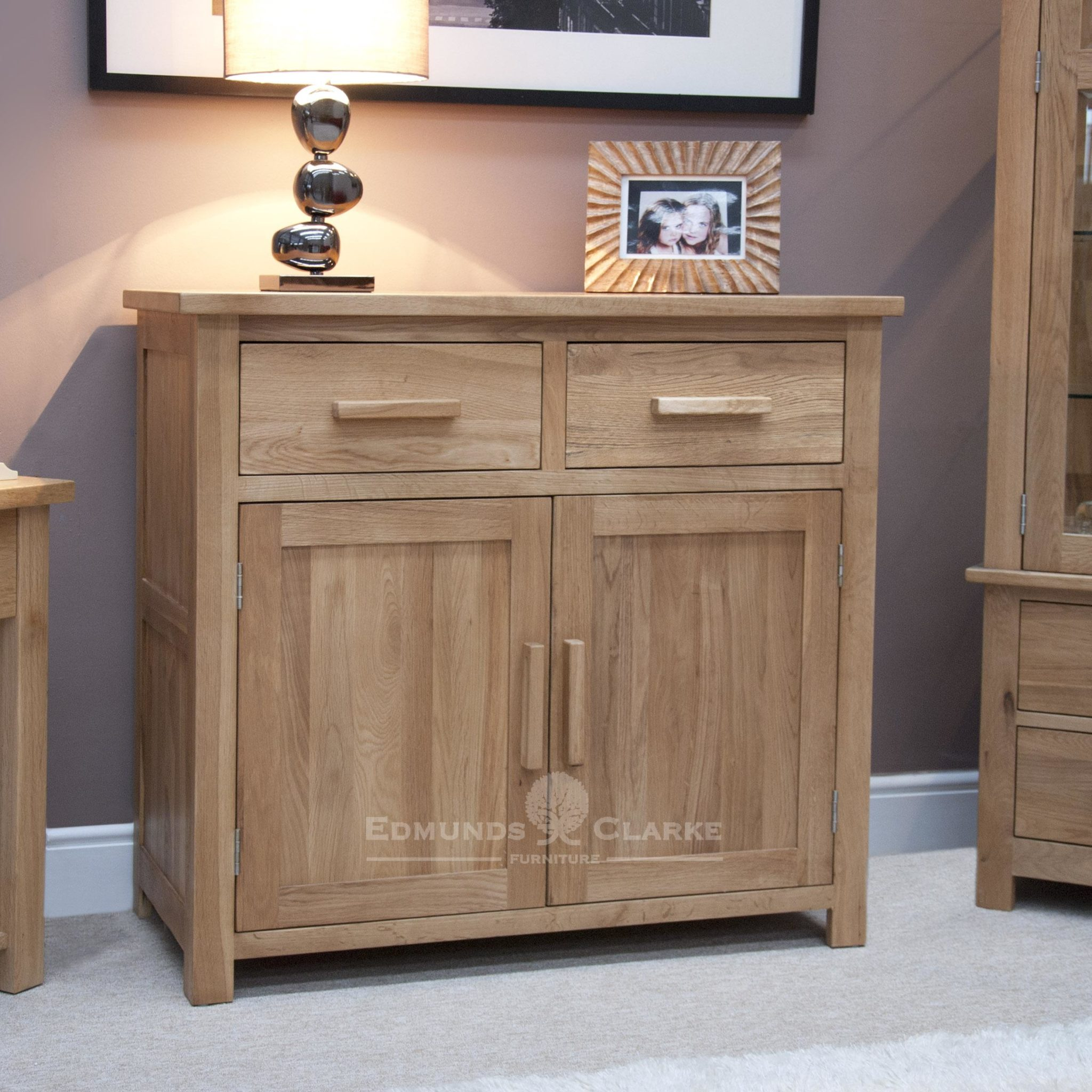 Bury Small oak Sideboard, two drawers and two cupboards underneath, chrome handles as standard oak bar handles available for extra cost. adjustable shelf