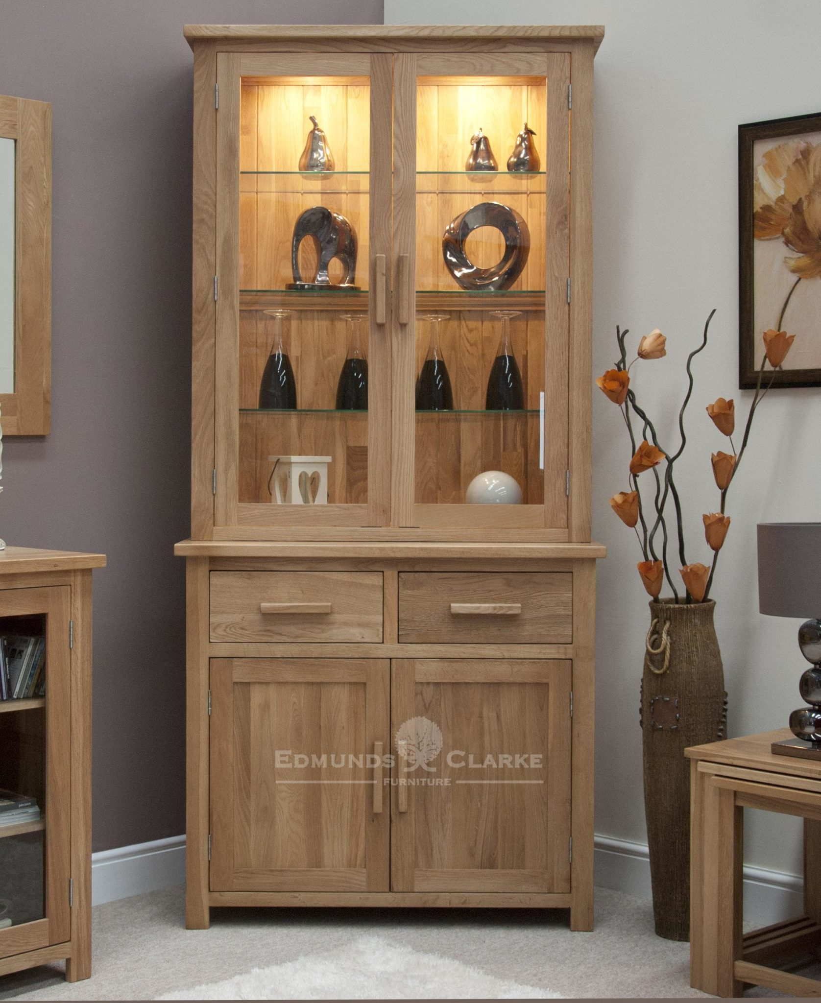 Bury Small oak dresser, 2 drawers, bevelled glass doors with adjustable shelves and cupboard underneath, chrome handles as standard or oak bar handles available as extra