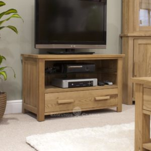 Bury Solid Oak TV cabinet. two drawers underneath with opening. chrome handle as standard. Oak bar handles optional extra